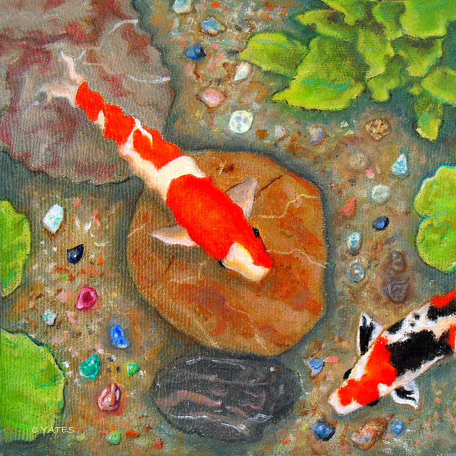 Koi pond treasure painting by charles yates for Koi pool paint