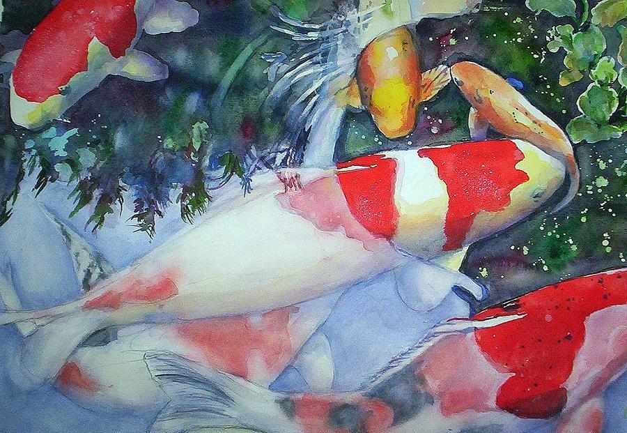 Koi  Painting - Koi Underwater Play by June Conte  Pryor