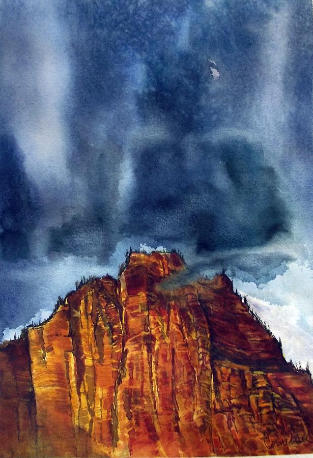 Red Rocks Painting - Kolob Thunderstorm by Russell Cornelius