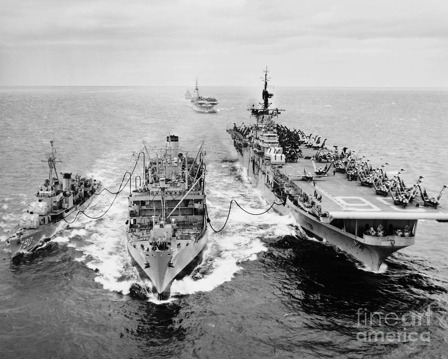 1953 Photograph - Korean War: Ship Refueling by Granger