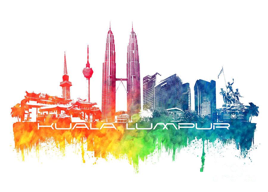 Kuala Lumpur Skyline City Color Digital Art By Justyna Jbjart