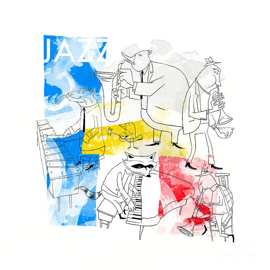 Jazz Digital Art - La Bande Du Jazz by Sean Hagan