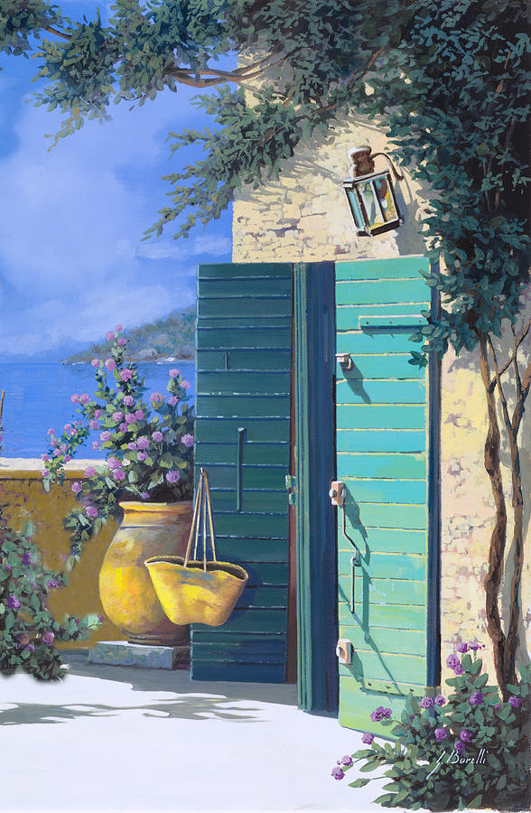 Terrace.ligurian Sea Painting - La Porta Verde by Guido Borelli