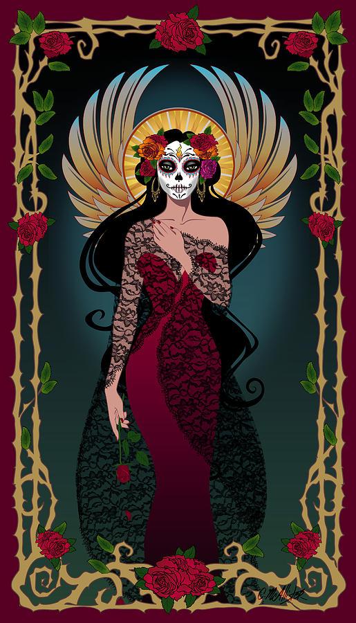 Dia De Los Muertos Digital Art - La Rosa by Cristina McAllister