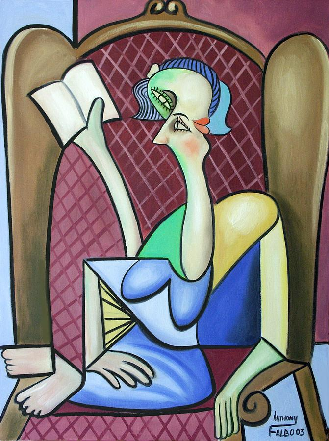 Woman Lady Girl Cant Sleep Sitting Expressionism Impressionist Abstract Night Gown Colorful Print Winged Back Chair Poster Canvas Fine Art Painting Anthony Falbo Falboart Cubestraction Cubist Cubism Giclee Reading Book Colorful Painting - Lady In A Winged Back Chair by Anthony Falbo