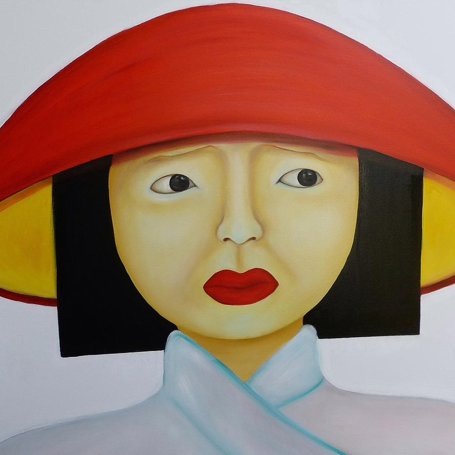 Lady With Red Hat Painting By Ta Thimkaeo