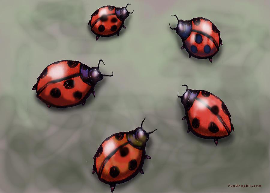 Ladybug Digital Art - Ladybugs by Kevin Middleton