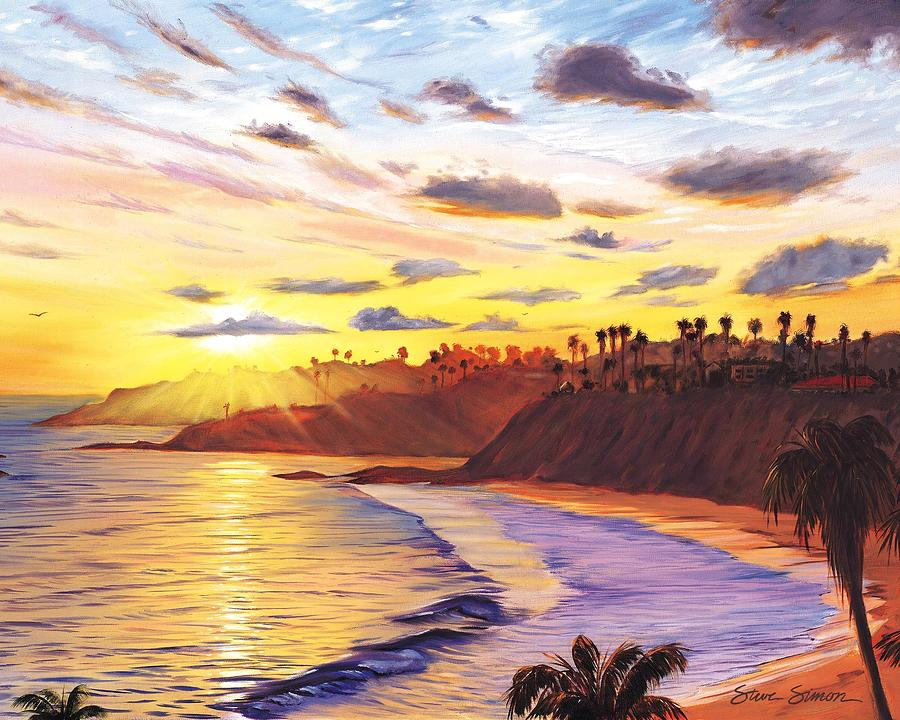 Laguna Village Sunset Painting by Steve Simon