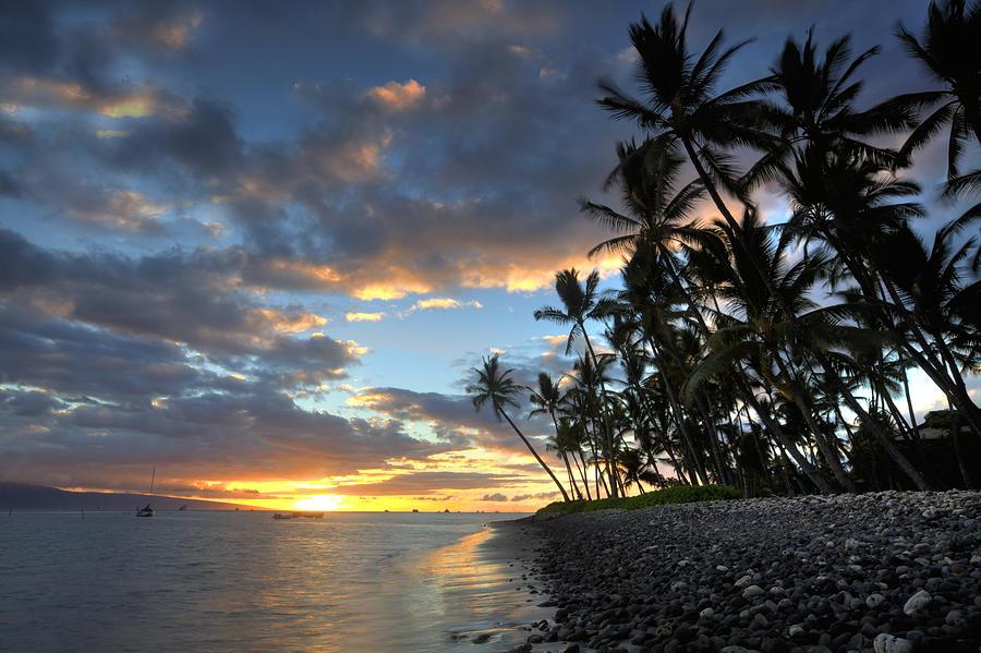 Lahaina Maui Hawaii Palmtrees Ebb Flow Beach Sunset Clouds Boats Photograph - Lahaina Sunset by James Roemmling