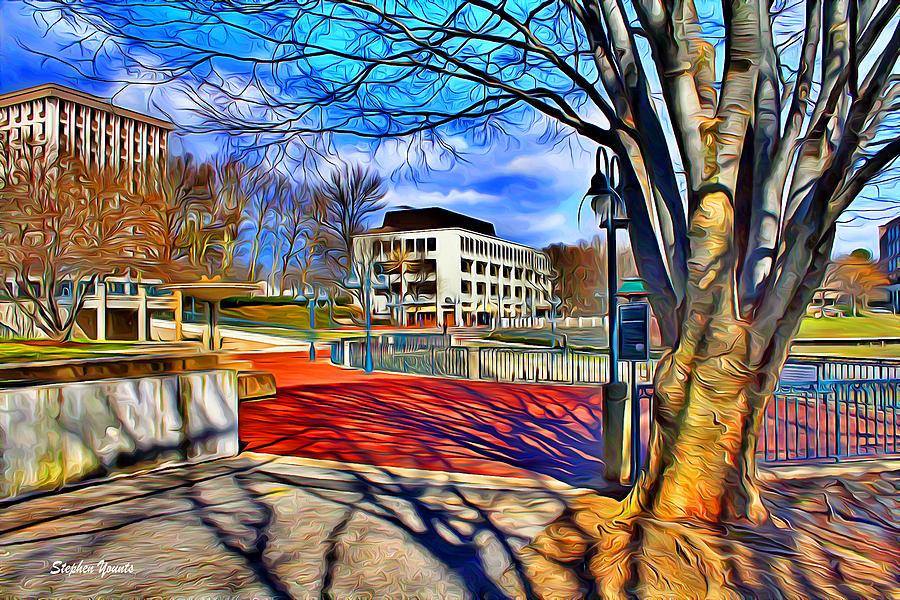 Howard County Digital Art - Lake Kittamaqundi Walkway by Stephen Younts