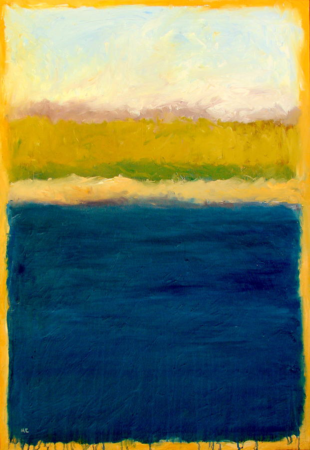 Dunes Painting - Lake Michigan Beach Abstracted by Michelle Calkins