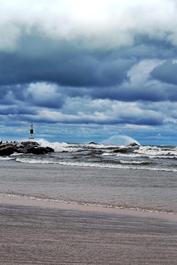 Blue Photograph - Lake Michigan With Big Wind  by Michelle Calkins