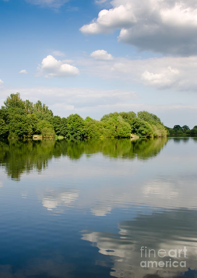 Lake Photograph - Lake Reflection Dinton Pastures Lakes And Nature Reserve Reading Berkshire Uk by Andy Smy