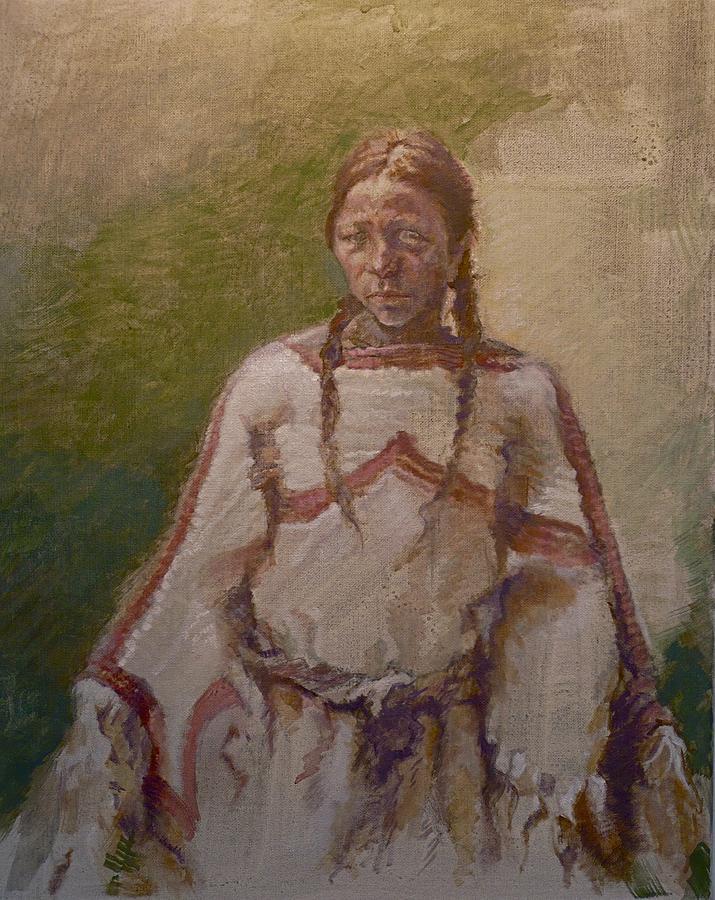 One Wnative American Painting - Lakota Woman by Ellen Dreibelbis