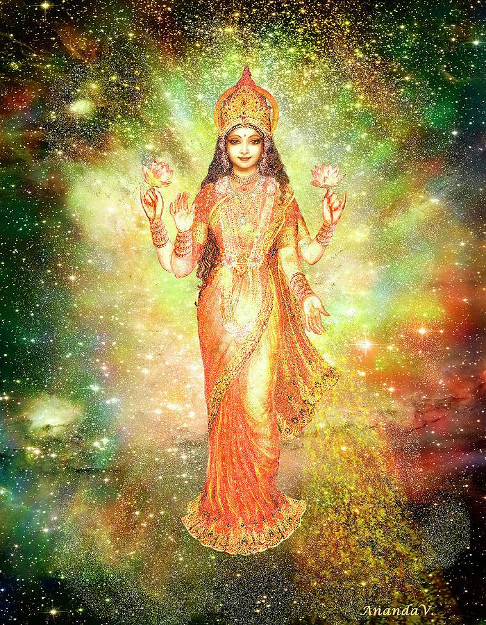 Goddess Painting Mixed Media - Lakshmi In A Galaxy  by Ananda Vdovic