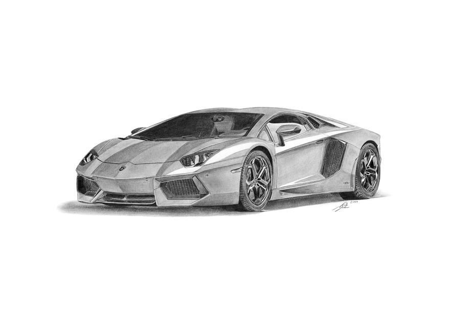 Lamborghini Aventador Lp700-4 Drawing by Gabor Vida