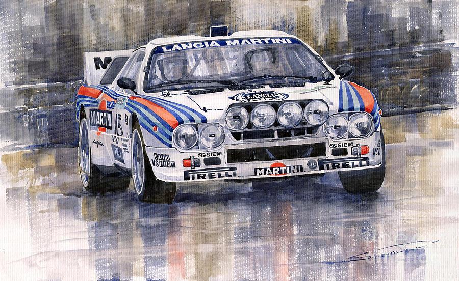 Watercolor Painting - Lancia 037 Martini Rally 1983 by Yuriy  Shevchuk