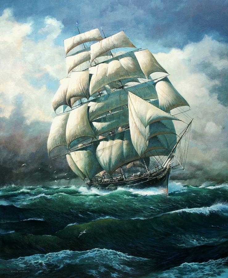 Marine Art Painting - land Ho Cutty Sark by Colin Parker