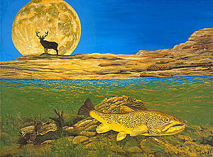 Artwork Painting - Landscape Art Fish Art Brown Trout Timing Bull Elk Full Moon Nature Contemporary Modern Decor by Baslee Troutman