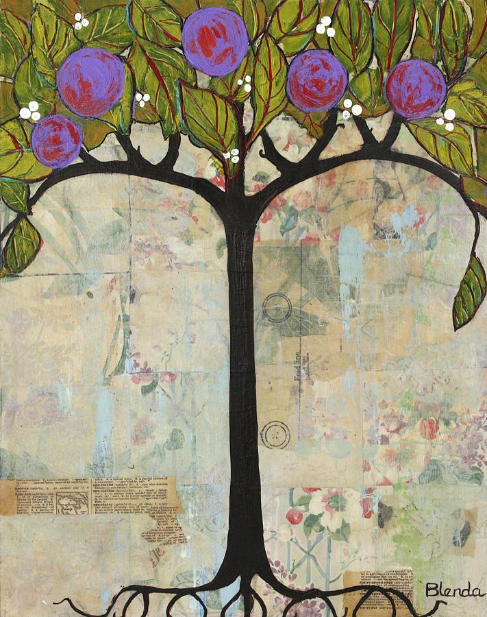 Art Painting - Landscape Art Tree Painting Past Visions by Blenda Studio