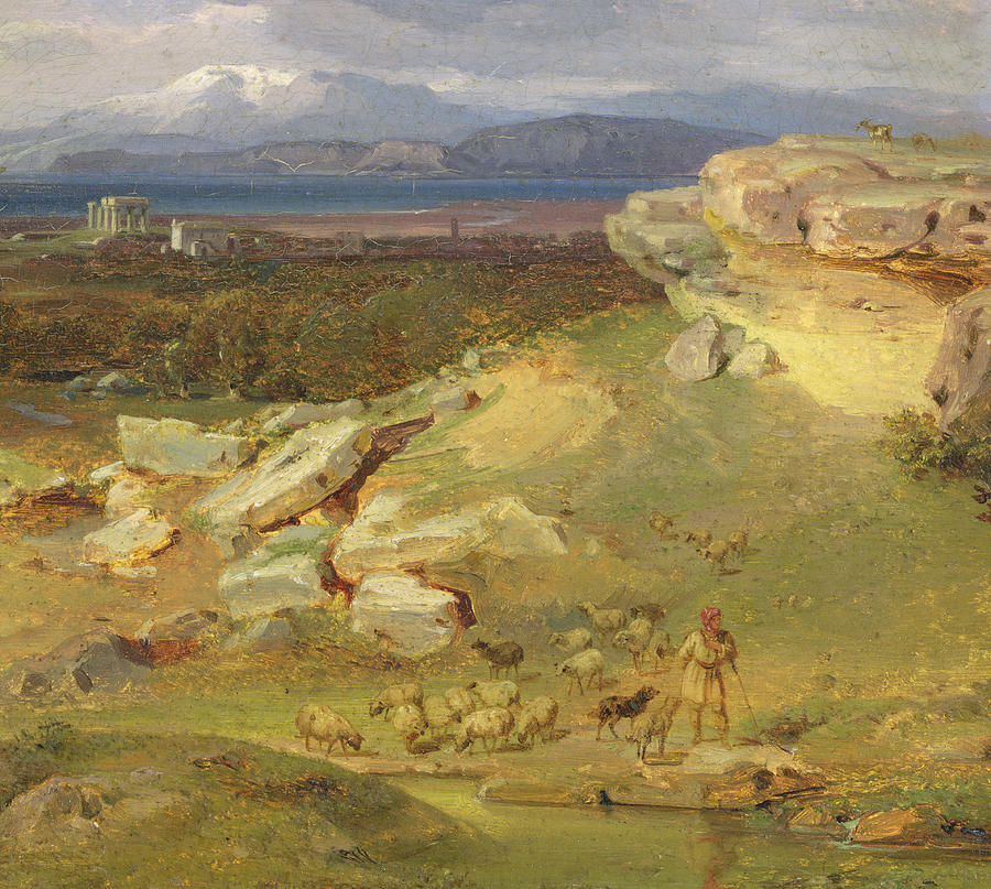 Landscape near corinth painting by carl rottmann for Nearby landscapers
