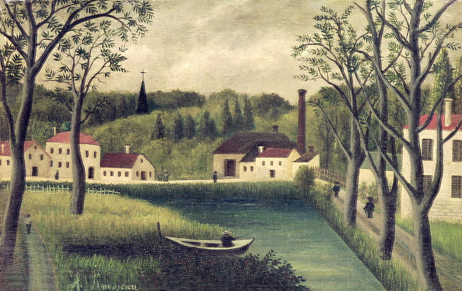Landscape Painting - Landscape With A Fisherman by Henri Rousseau
