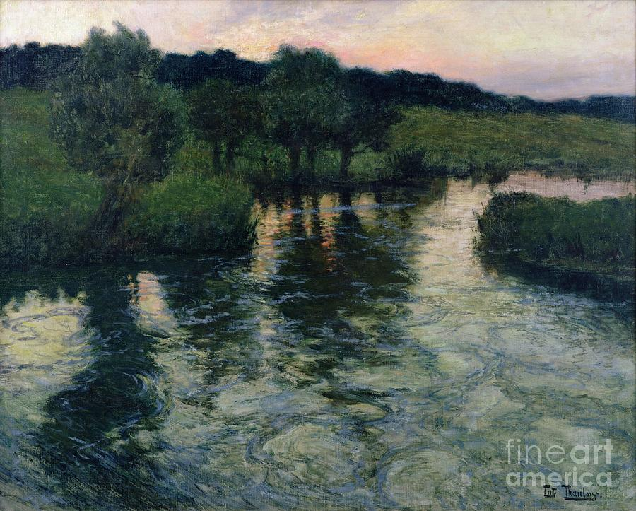 Landscape With A River By Thaulow Painting - Landscape With A River by Fritz Thaulow