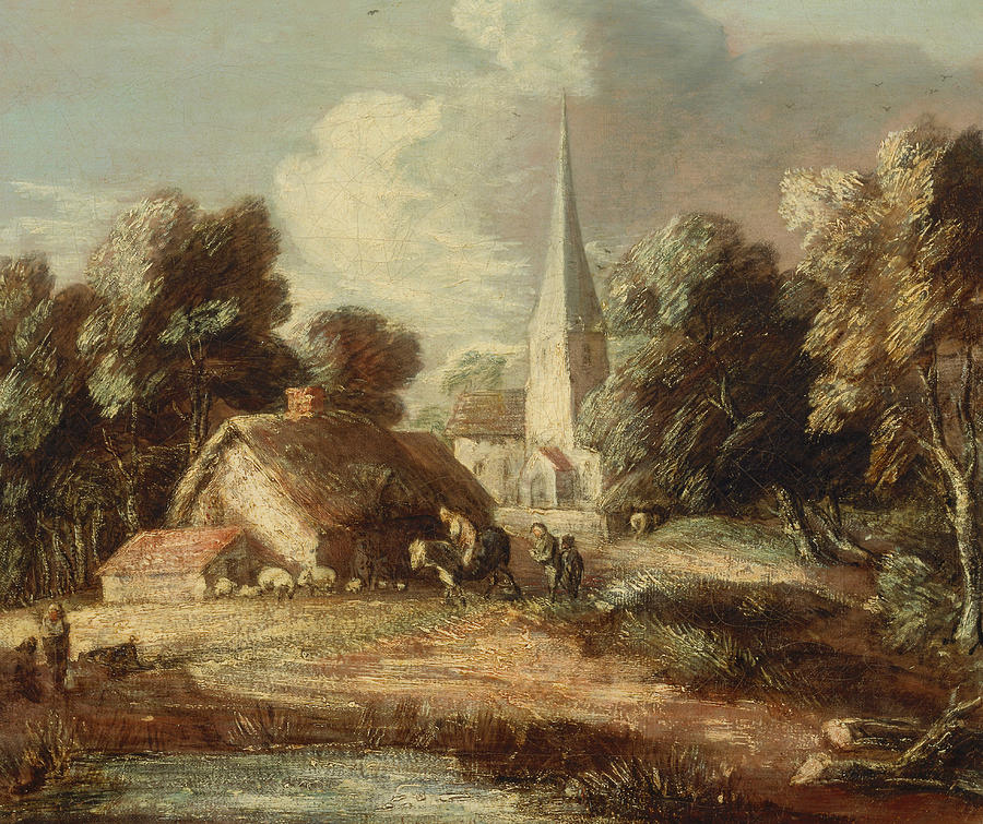 Landscape With Cottage And Church Painting By Thomas