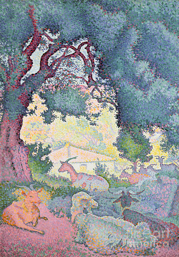 Landscape With Goats Painting - Landscape With Goats by Henri-Edmond Cross