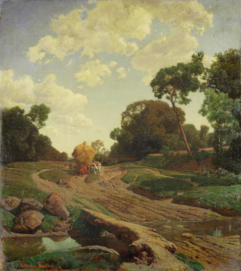 Landscape Painting - Landscape With Haywagon by Valentin Ruths