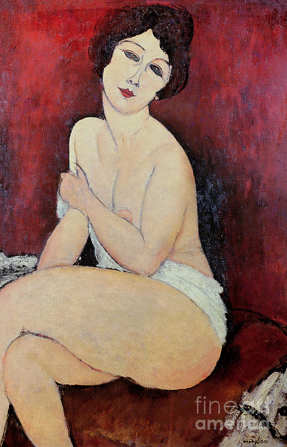 Large Painting - Large Seated Nude by Amedeo Modigliani