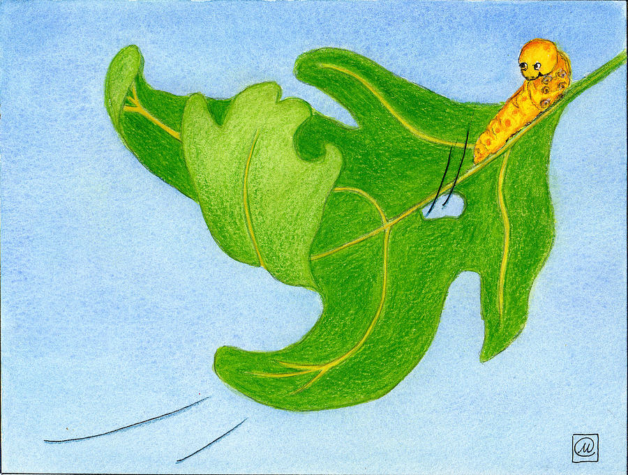 Oak Leaf Painting - Larrimore Leaf And Unexpected Visitor by Monika Kretschmar