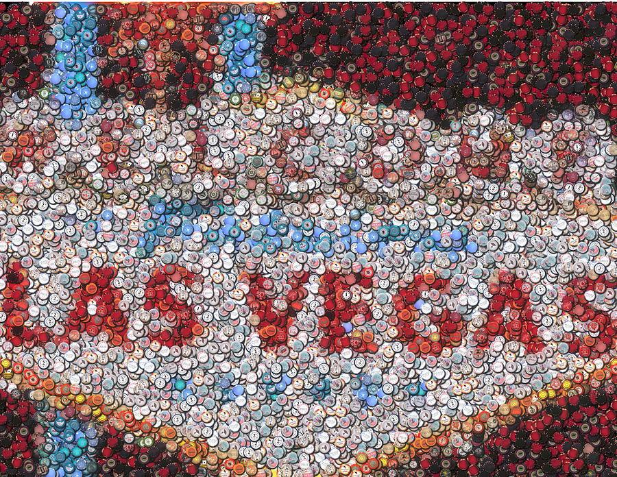 Gambling Mixed Media - Las Vegas Sign Poker Chip Mosaic by Paul Van Scott