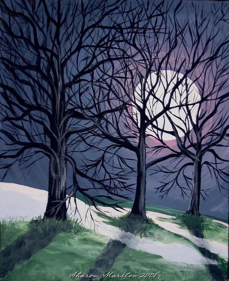 Last Night Of The Winter Moon Painting By Sharon Marcella