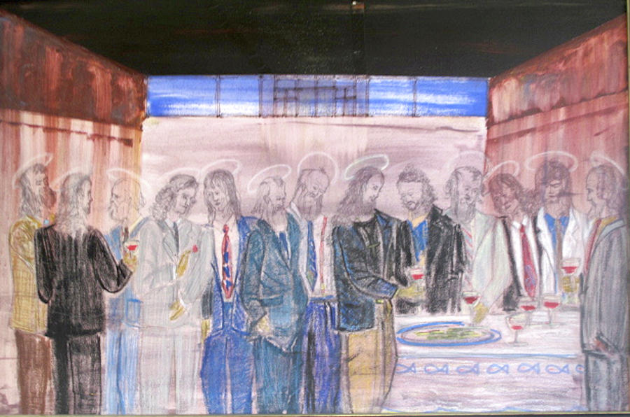Inartelfen Painting - Last Supper 20th Century by Marwan George Khoury