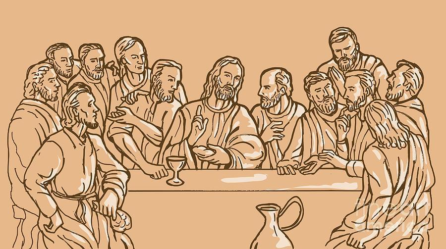 Last Supper  Digital Art - last supper of Jesus Christ by Aloysius Patrimonio
