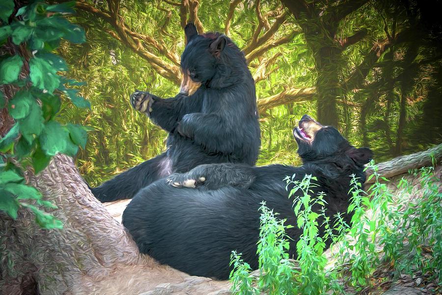 Bears Painting - Laughing Bears by John Haldane
