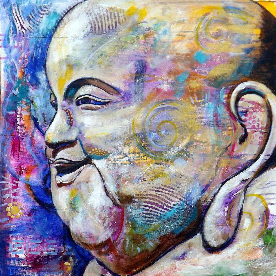 Laughing buddha painting by jennifer ferdinandsen for Buddha mural paintings