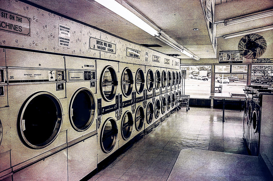 Laundromat Washing Machines In Color Tones Photograph