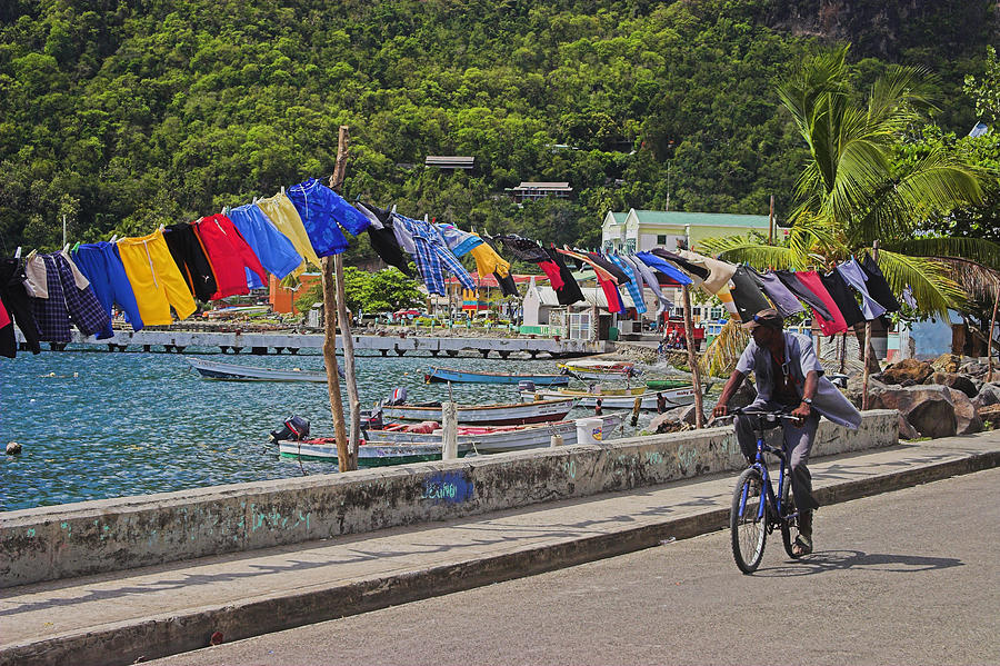 St Lucia Photograph - Laundry Drying- St Lucia. by Chester Williams