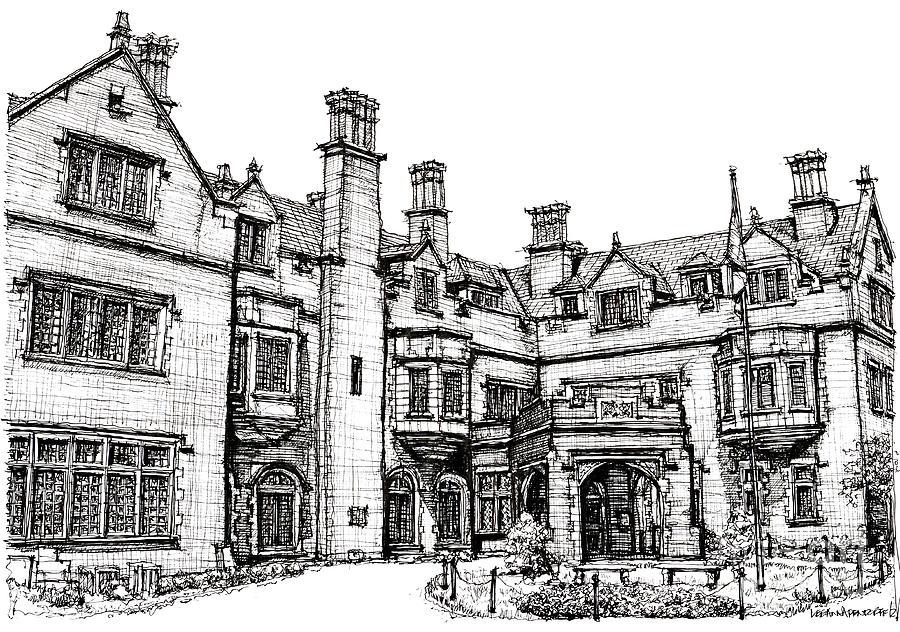 Laurel Drawing - Laurel Hall In Indianapolis by Adendorff Design
