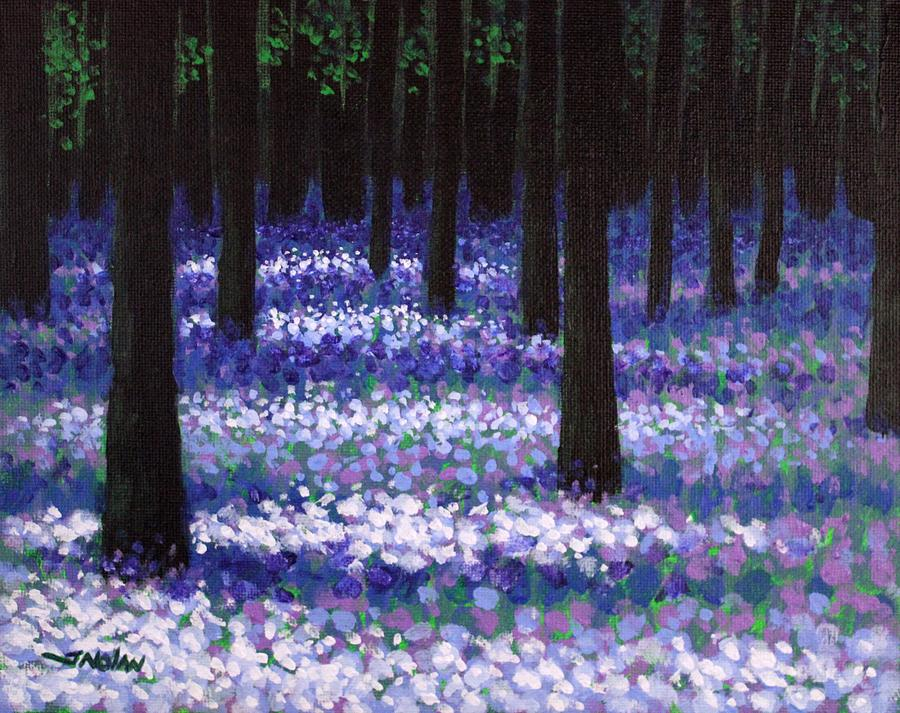 Lavender Woodland Painting