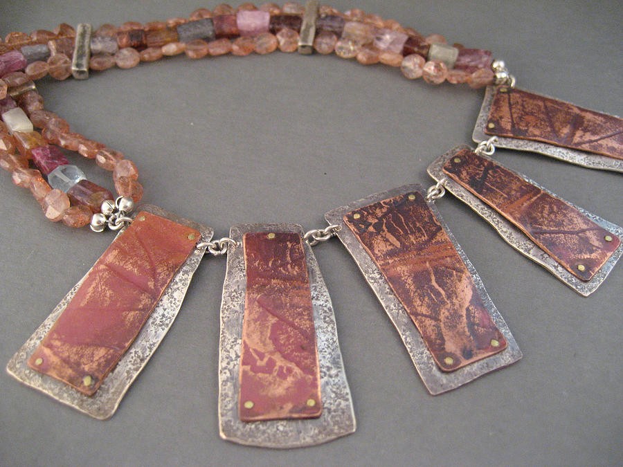 Rust Jewelry - Leaf Impressions Necklace by Brenda Berdnik