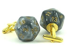 Sliver Jewelry - Leaf Steel D20 Cufflinks by World of Dice