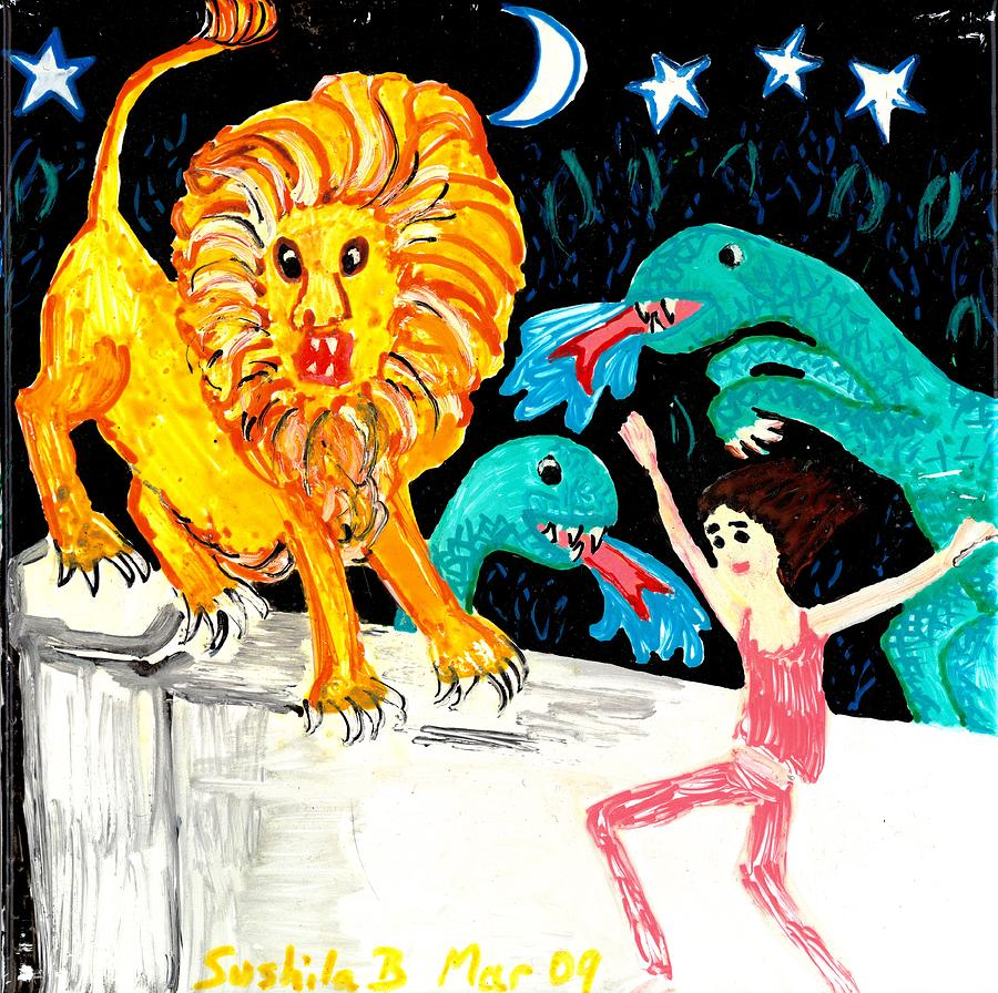 Sue Burgess Painting - Leap Away From The Lion by Sushila Burgess