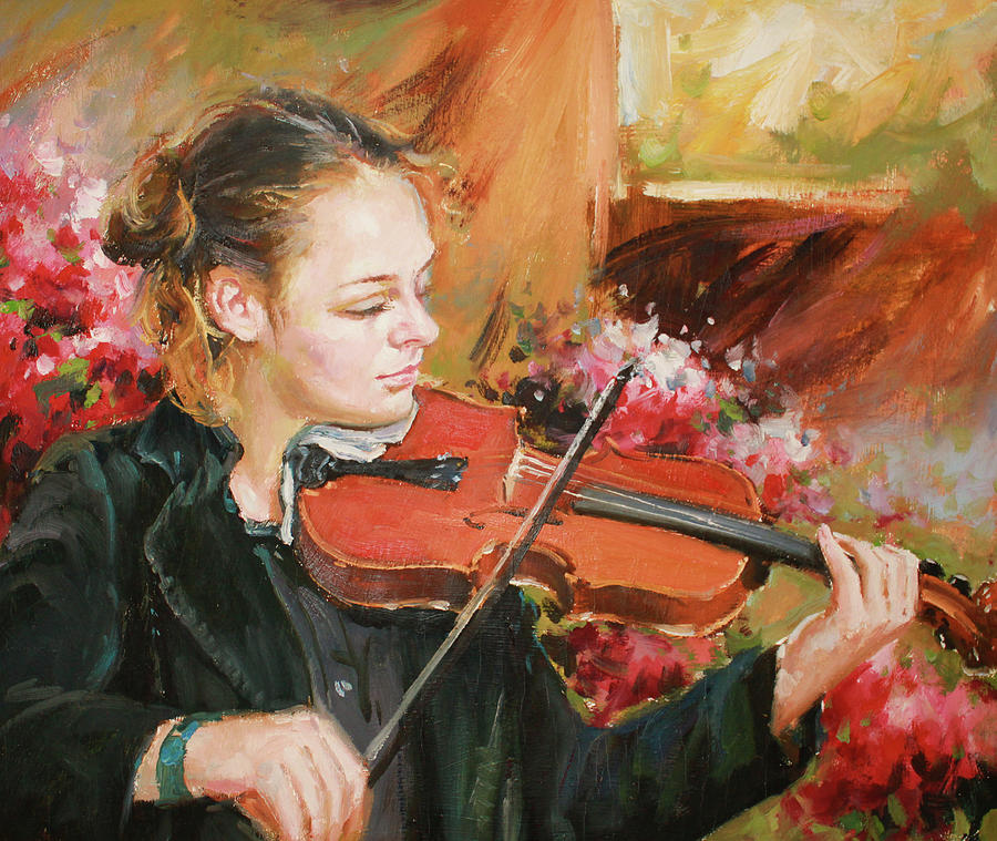 Learning The Violin Painting