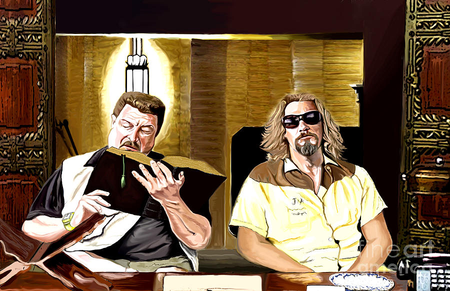 Movie Posters  Painting - Lebowski  Mortuary by Johnee Fullerton