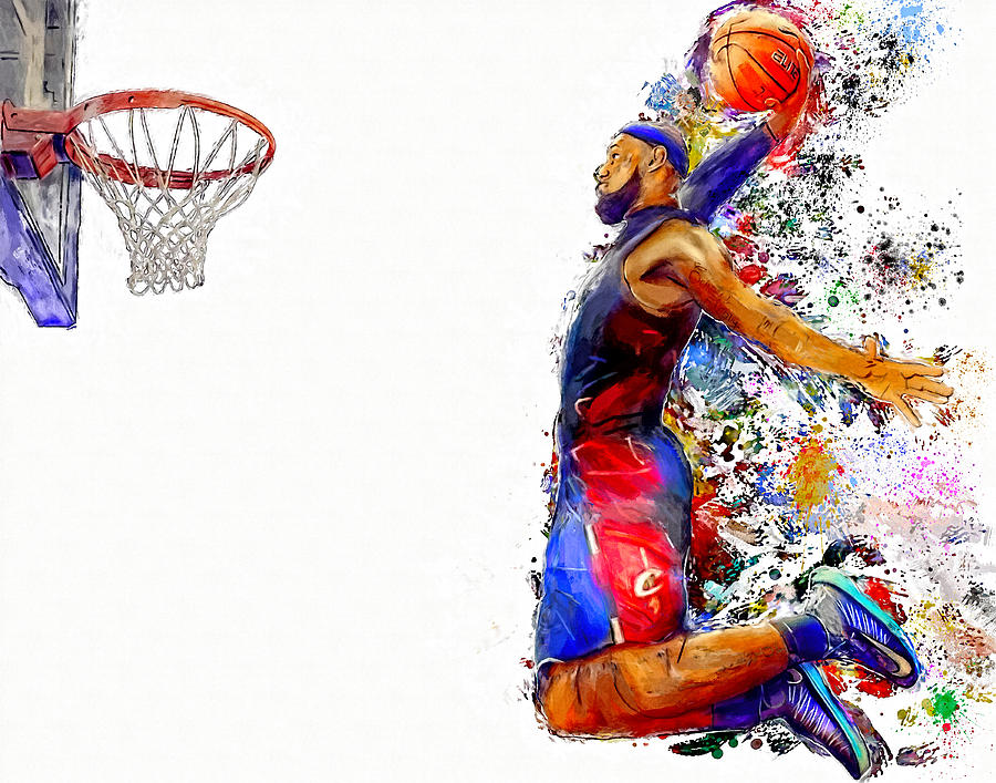 Lebron James Dunk In Color Painting Painting By Andres Ramos