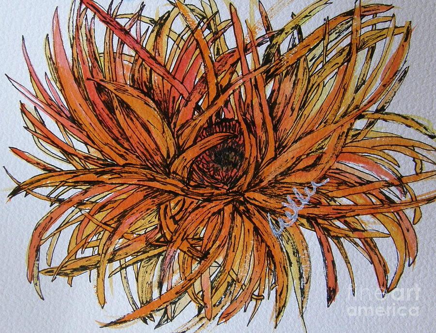 Gerbera Painting - Leggy Gerber by Marcia Weller-Wenbert