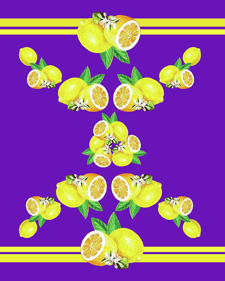 Lemons And Blossoms Decorative Watercolor Iv Painting